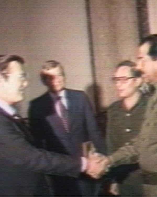 Donald Rumsfeld meeting Saddam Hussein in Baghdad as an envoy from President Ronald Reagan in 1983.