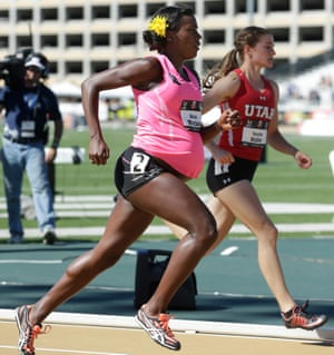 Alysia Montaño, left, who at 34 weeks pregnant, competes in the 800m