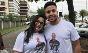 Felipea and Gabriela Avenino joined Bolsonaro supporters outside his house.