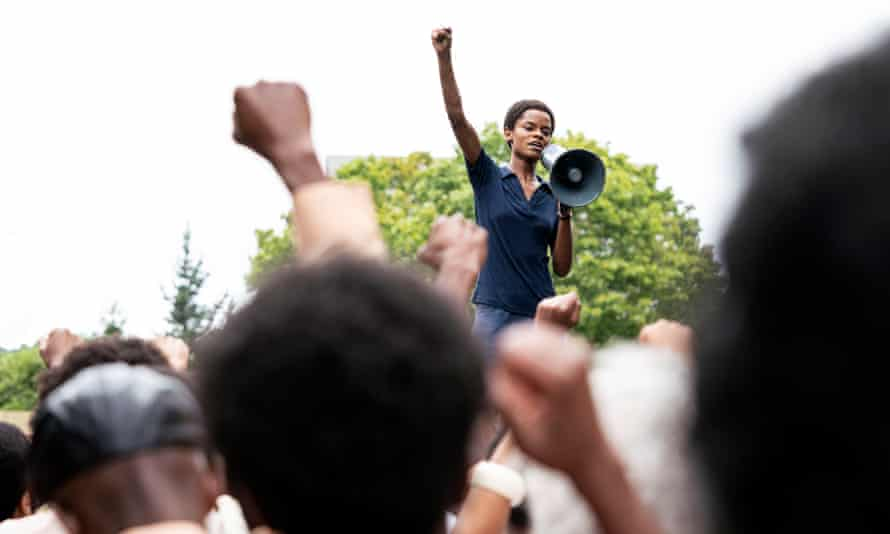 Letitia Wright rallies protesters in Mangrove.