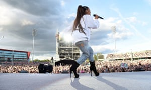 Ariana Grande performs during the One Love concert at Old Trafford.