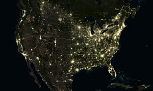 The United States at night in 2012.