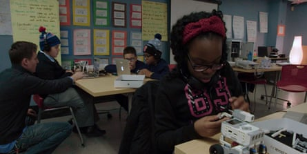 young New Yorkers pursue tech projects in one of the library's borough branches.