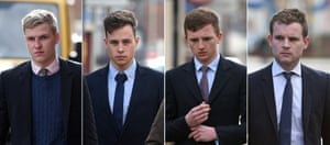 Cleared (left to right): Thady Duff, 22, James Martin, 20, Leo Mahon, 22, and Patrick Foster, 22.