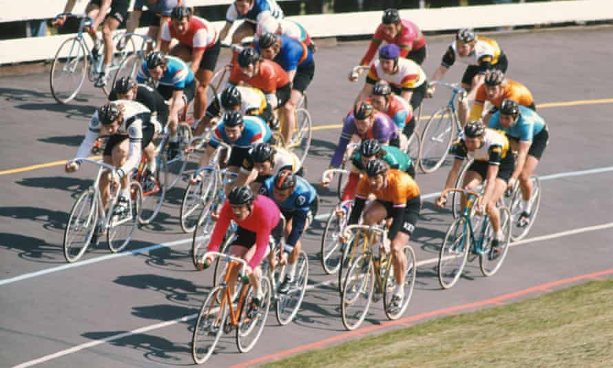 group of Cyclists race at Herne Hill London
