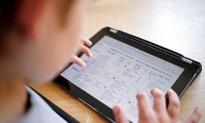 Boy using iPad