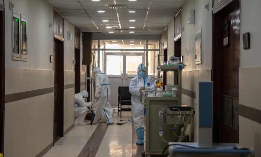 Hospital staff working in the red zone Covid-19 ward, PIMS hospital in Islamabad