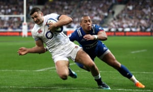 Jonny May touches down and pulls a try back for England.