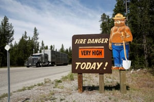 A forest service fire danger sign next to Highway 191 in West Yellowstone, Montana, warns the fire risk is 'very high'. 'At least over the next few decades, we are going to see these recurring really large, catastrophic wildfires,' Dr Ben Cook, a Nasa climate scientist, says of the western US. 'You'll have good years, and you'll have bad years, but climate change is leading towards a trend of more area burned every year.'