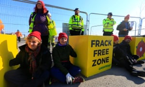 Campaigners Block Work at Fracking Site in Lancashire, UK<br>Volunteer campaigners, from areas facing fracking across the UK, block the entrance to the Preston New Road fracking site in Lancashire, England, with Greenpeace UK.