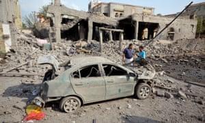Site of a Saudi-led air strike in the Red Sea port city of Houdieda, Yemen.