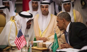 Barack Obama and the crown prince of Abu Dhabi in Riyadh