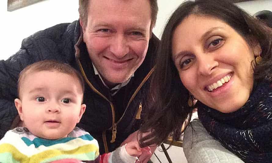 Nazanin Zaghari-Ratcliffe with her husband, Richard Ratcliffe, and daughter, Gabriella