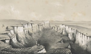 The chasm near Bindon, Devon, illustrated in 1840, a year after the landslip occurred.