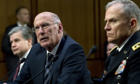 Daniel Coats, the director of national intelligence, testifies before the Senate intelligence committee on Capitol Hill.