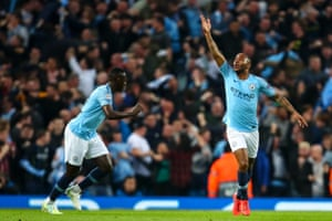 Raheem Sterling celebrates after scoring his second and Manchester City's third goal of the game.