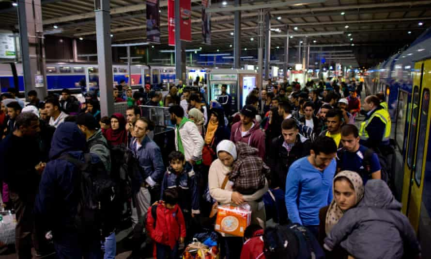 Recently arrived refugees at the main station in Munich.