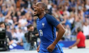 Djibril Sidibé celebrates scoring for France against England in June 2017
