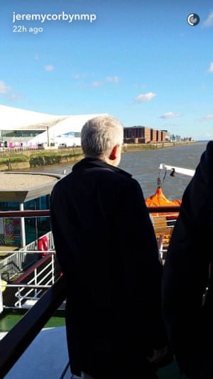 The Labour leader enjoys the view from the ferry.