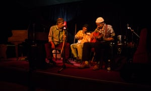 Performers onstage at Straight No Chaser music club, Buitenkant Street, Cape Town