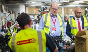 Rupert Soames, the head of Serco, at the company's facility for the London bike hire scheme.