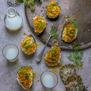 Grilled oysters with pastis and fennel crumbs.