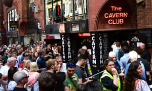 Eager Paul McCartney fans outside the Cavern Club in Liverpool