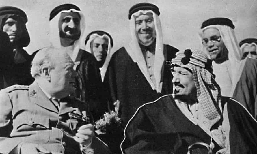 King Abdulaziz with Churchill in Cairo in 1945.
