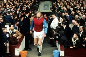 Bobby Moore leads out West Ham at the Boleyn Ground, Upton Park, New Year's Day 1970.