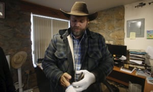 Ammon Bundy stands in an office at the Malheur national wildlife refuge near Burns, Oregon.