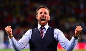 Head Coach of England Gareth Southgate celebrates England's first knockout win in a World Cup for 12 years