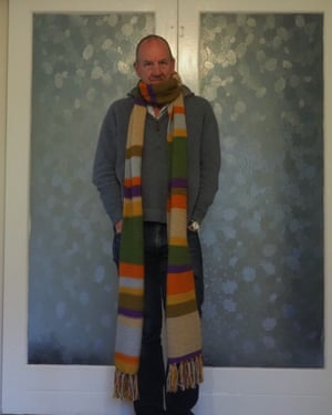 Paul Humpage in his Doctor Who scarf