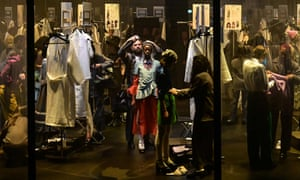 Models and stylists at Gucci's Milan show, where the backstage was on stage