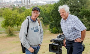 Michael Apted and George Jesse Turner on location in Greenwich Park filming for 56 Up, which was screened in 2012.