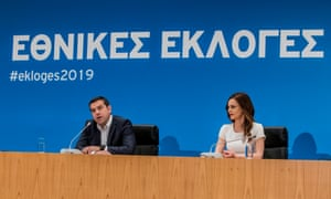 Outgoing Greek prime minister Alexis Tsipras addressing the media in Athens on 7 July after Syriza's defeat to the conservatives