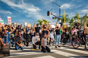 Los Angeles Protesters march in Santa Monica on Sunday