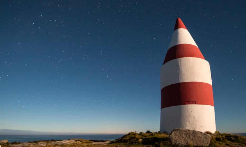The daymark at night on St Martin's, Isles of Scilly.