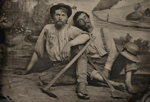 Unknown photographer. Portrait of an unidentified pair of prospectors c.1860. Tintype