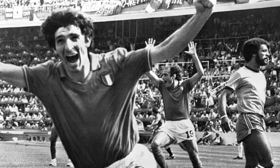 Paolo Rossi celebrates after scoring his second goal against Brazil at the 1982 World Cup