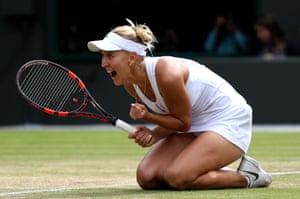 Vesnina celebrates victory.