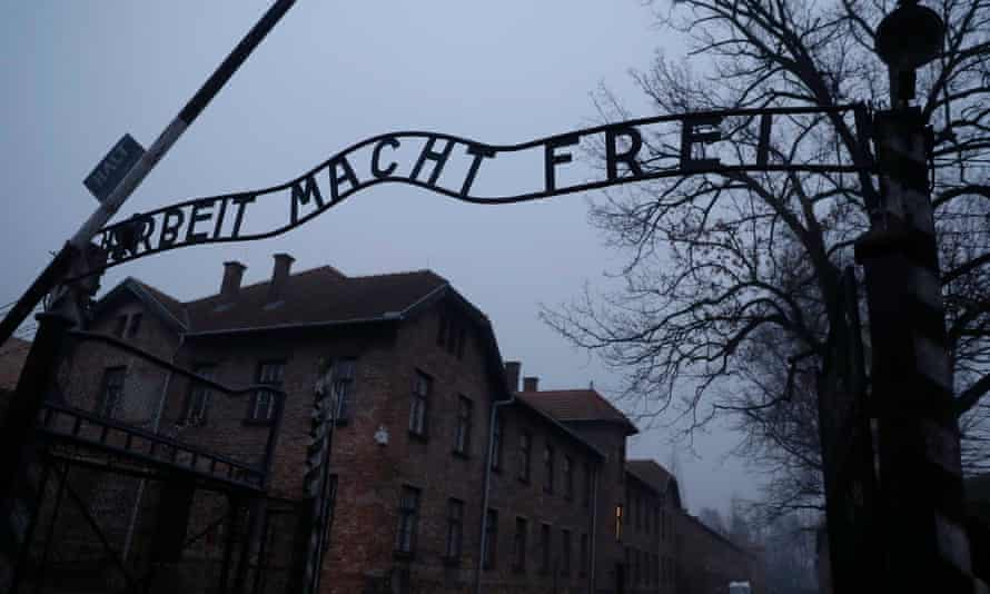 The 'Arbeit Macht Frei' gate at the former Nazi German concentration and extermination camp Auschwitz.