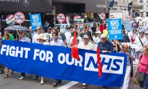 A march in London against spending cuts and privatisation of the national health service.