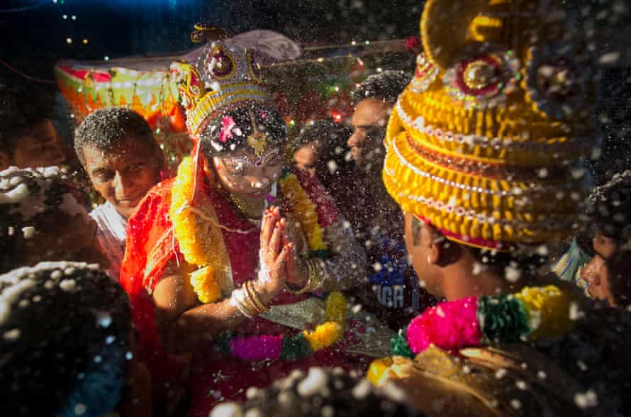 A 15-year-old girl gets married. Many victims of trafficking said they were sold to brothels by their husbands, without their consent.
