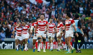 Japan react to their suprise victory over South Africa in their opening game of the 2015 Rugby World Cup.
