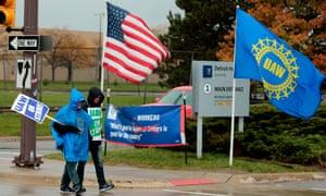 United Auto Workers members picket outside General Motors Detroit-Hamtramck Assembly in Detroit last week.