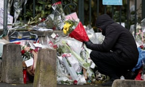 Tributes left by fans of Johnny Hallyday outside his home near Paris.
