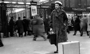 Katharine Whitehorn photographed at Waterloo railway station for the Picture Post, 1956.