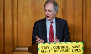 Prof John Newton holding a digital Covid-19 press conference in n10 Downing street in London