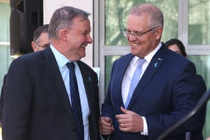 The Prime Minister Scott Morrison and Opposition leader Anthony Albanese at the Prostate Cancer Foundation Big Aussie BBQ in a courtyard of Parliament House, Canberra this afternoon.