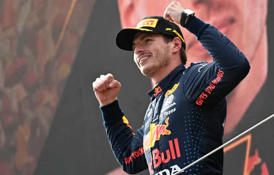 Max Verstappen celebrates winning the Austrian F1 GP at the Red Bull Ring, a week after claiming the Styrian GP at the same venue.